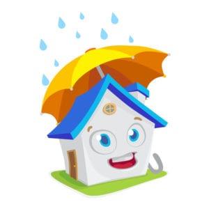 house with umbrella graphic